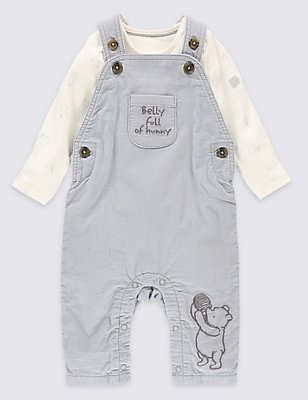 Winnie The Pooh 2 Piece Dungarees & Bodysuit Outfit, GREY MIX, catlanding