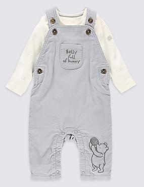 """2-teiliges Outfit mit Latzhose und Body aus reiner Baumwolle mit """"Winnie The Pooh""""-Motiv, GRAU MELANGE, catlanding"""
