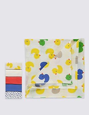5er-Pack quadratische Mulltücher aus reiner Baumwolle, MEHRFARBIG, catlanding