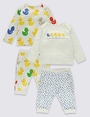2 Pack Pure Cotton Bath time Ducks Pyjama Set, MULTI, catlanding