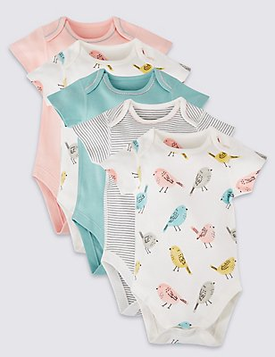 5 Pack Pure Cotton Bird Bodysuits, AQUA MIX, catlanding