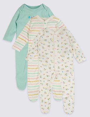 3 Pack Pure Cotton Sleepsuits, WHITE MIX, catlanding