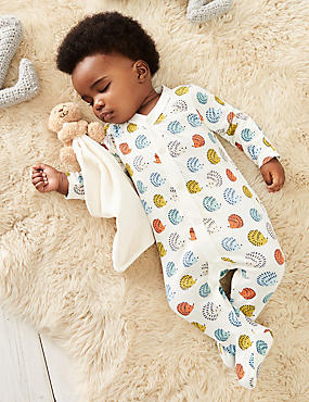 2 Pack Hedgehog Cotton Sleepsuits, MULTI, catlanding