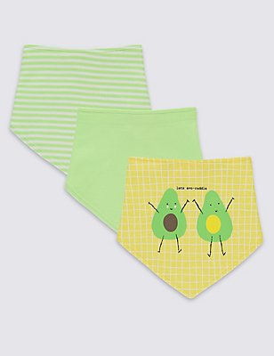 3 Pack Pure Cotton Assorted Dribble Bibs, WHITE MIX, catlanding