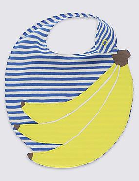 Bavoir 100% coton à motif banane appliquée, JAUNE ASSORTI, catlanding