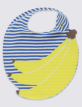 Pure Cotton Banana Applique Bib, YELLOW MIX, catlanding