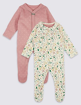 2 Pack Pure Cotton Sleepsuits, PINK MIX, catlanding