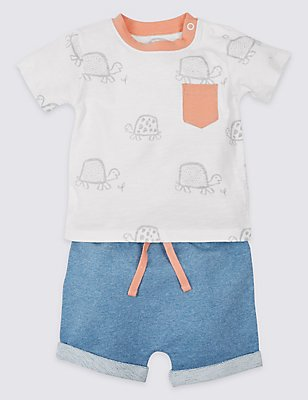 2 Piece Pure Cotton Top & Shorts Outfit, MULTI, catlanding