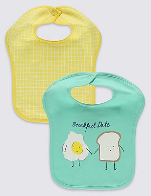 2 Pack Pure Cotton Breakfast Square Bibs, GREEN MIX, catlanding