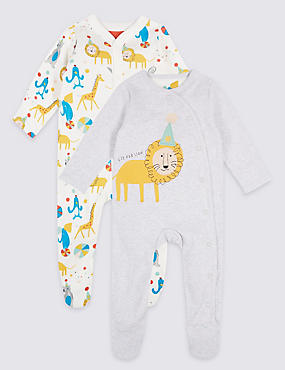 Pure Cotton Animal Applique Sleepsuits, MULTI, catlanding
