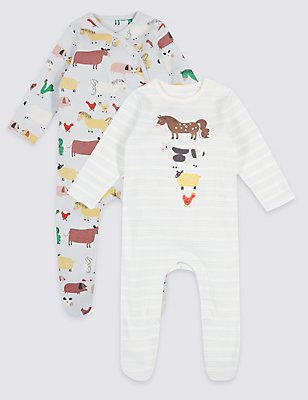 2 Pack Pure Cotton Embroidered Sleepsuits, MULTI, catlanding