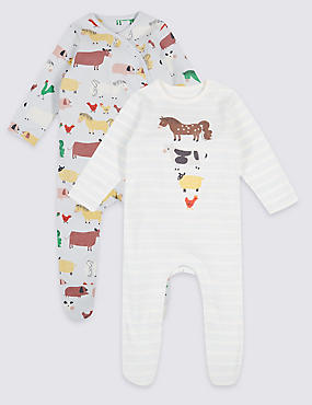 2 Pack Pure Cotton Sleepsuits, MULTI, catlanding