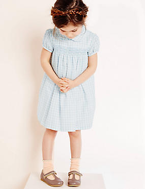 Girls Woven Check Dress (3 Months - 5 Years), PALE BLUE, catlanding