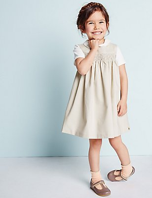Girls Cotton Textured Woven Pinny with Stretch (3 Months - 5 Years), LIGHT PUTTY, catlanding