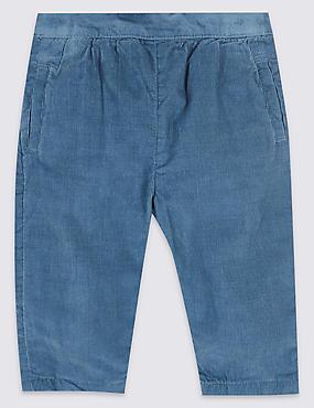 Pure Cotton Cord Trousers, BLUE, catlanding