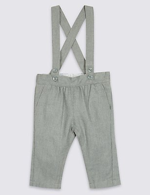 Brushed Wool Trousers with Braces , GREY, catlanding