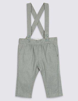 Pantalon en laine effet peigné avec bretelles , GRIS, catlanding