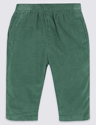 Pure Cotton Cord Trousers, GREEN, catlanding