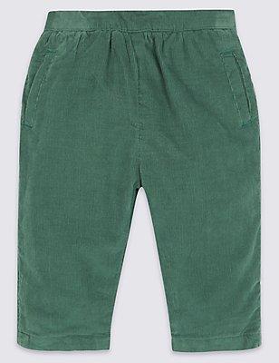 Pantalon en velours côtelé 100% coton, VERT, catlanding