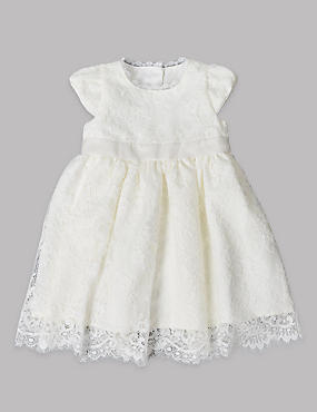 Lace Christening Baby Dress, IVORY, catlanding