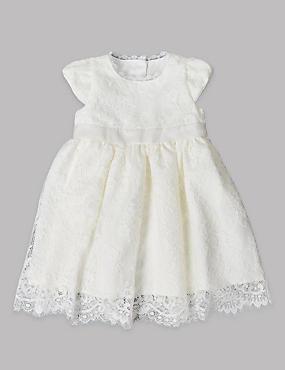 Robe de baptême pour bébé, ornée de dentelle, IVOIRE, catlanding