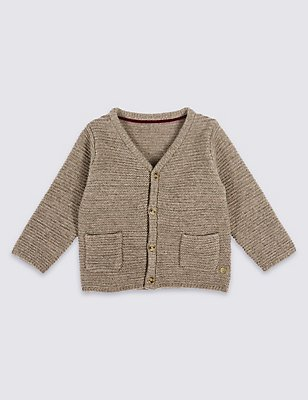 Long Sleeve Cardigan with Cashmere, OATMEAL, catlanding