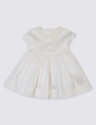 Peter Pan Collar Christening Baby Dress, IVORY, catlanding