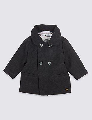 Manteau en laine à manches longues, GRIS, catlanding