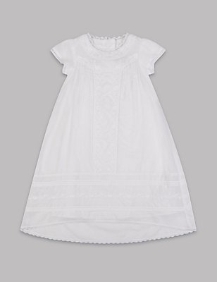 Pure Cotton Embroidered Christening Gown, WHITE, catlanding