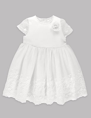 Lace Christening Baby Dress, WINTER WHITE, catlanding