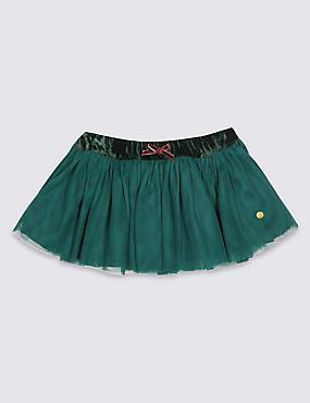 Pull-on Knitted Tutu , GREEN, catlanding