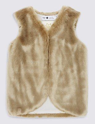 Faux Fur Gilet, ESPRESSO, catlanding
