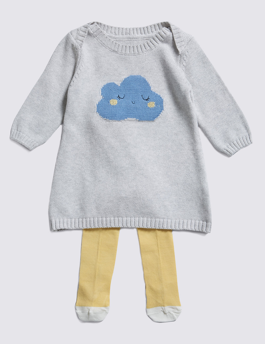 2 Piece Cotton Rich Knitted Cloud Dress & Tights Outfit