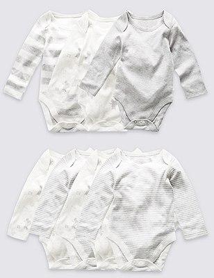 7 Pack Pure Cotton Skin Kind™ Bodysuits, GREY MARL, catlanding