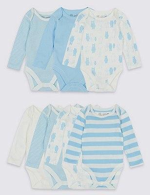 7 Pack Pure Cotton Skin Kind™ Bodysuits, BLUE MIX, catlanding