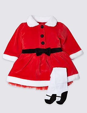 Mrs Santa Velour Christmas Dress and Tights, RED MIX, catlanding