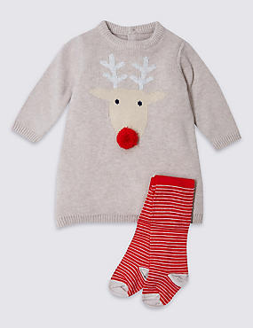 2 Piece Reindeer Knitted Dress with Tights, OATMEAL MIX, catlanding