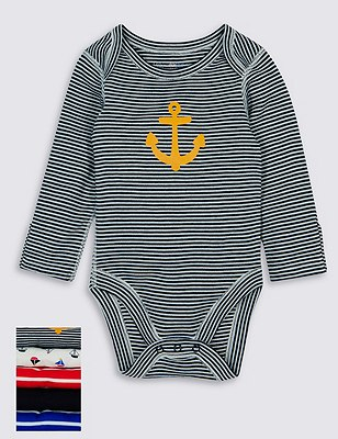 5 Pack Pure Cotton Nautical Skin Kind™ Bodysuits, BLUE MIX, catlanding