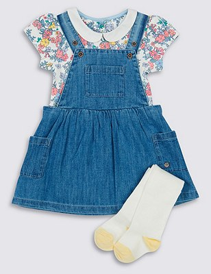 3 Piece Cotton Rich Denim Pinafore, Bodysuit & Tights Outfits, CHAMBRAY, catlanding