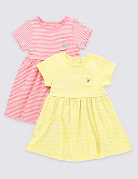 2 Pack Pure Cotton Striped Dresses