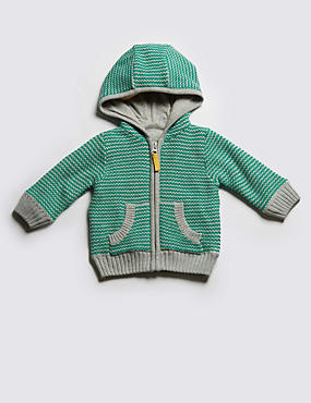 Pure Cotton Striped Knitted Hooded Top