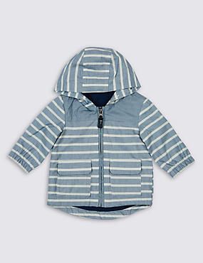 Pure Cotton Striped Hooded Jacket