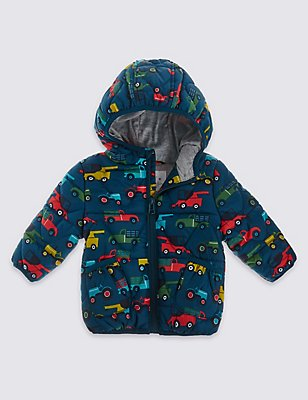 Car Print Hooded Coat, TEAL MIX, catlanding