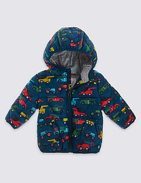Manteau à capuche et imprimé voitures, BLEU CANARD ASSORTI, catlanding