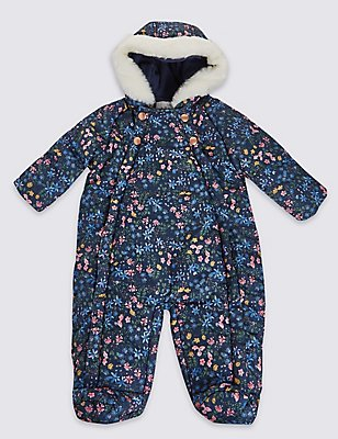 Floral Print Snowsuit, NAVY MIX, catlanding