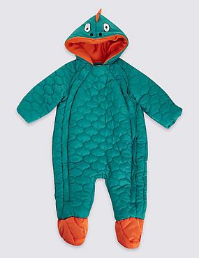 Dinosaur Snowsuit with Stormwear™, GREEN, catlanding