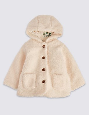 Long Sleeve Faux Fur Hooded Coat, CREAM, catlanding