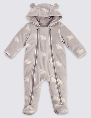 Unisex Bear Animal Print Pramsuit, CREAM, catlanding