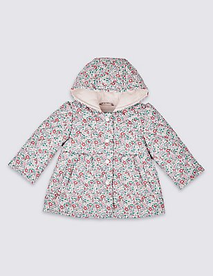 Floral Print Coat with Stormwear™, PINK MIX, catlanding