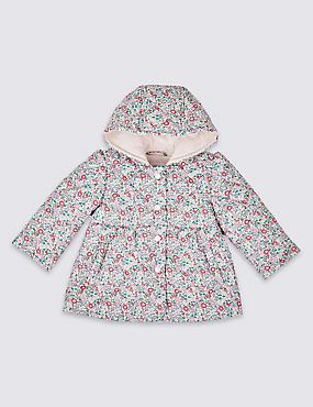 Floral Print Coat, PINK MIX, catlanding